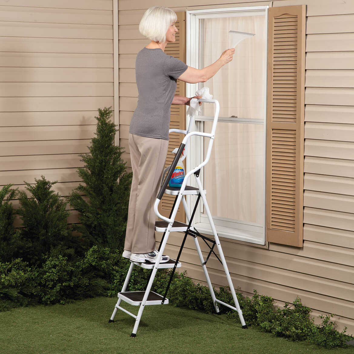 Folding Four Step Ladder with Handrails by LivingSURE