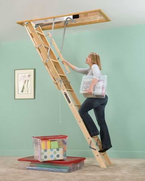 Louisville Ladder L224P 8 ft. 9 in. - 10 ft. Wood Attic Ladder, Type I, 250 lb Load Capacity
