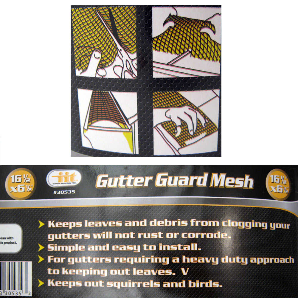 Gutter Guard Mesh 16 Ft X 6In Black Plastic 5' & 6' Gutters Cover Easy Install