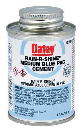 Oatey 30890 Pvc Cement,Blue,4 Oz. G3787266