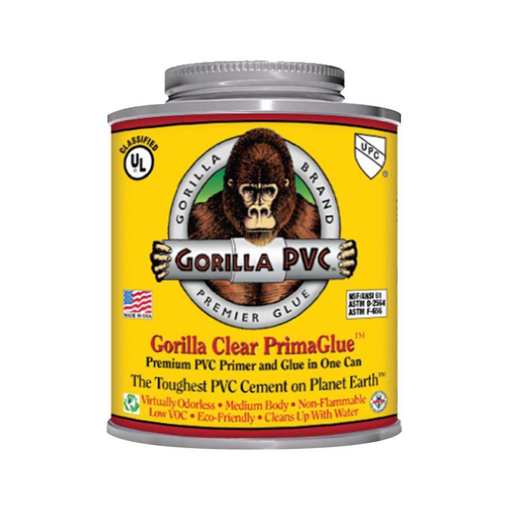 Raven R1585C Gorilla Pvc Cement Medium Body Primaglue, 16 oz, Yellow