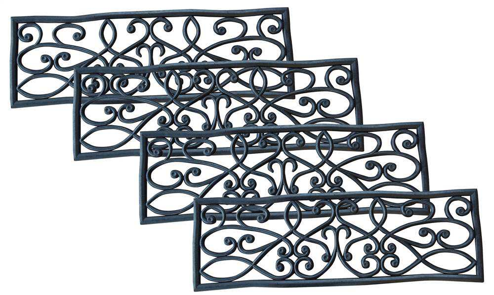 Rubber Scrollwork Stair Tread - Set of 4