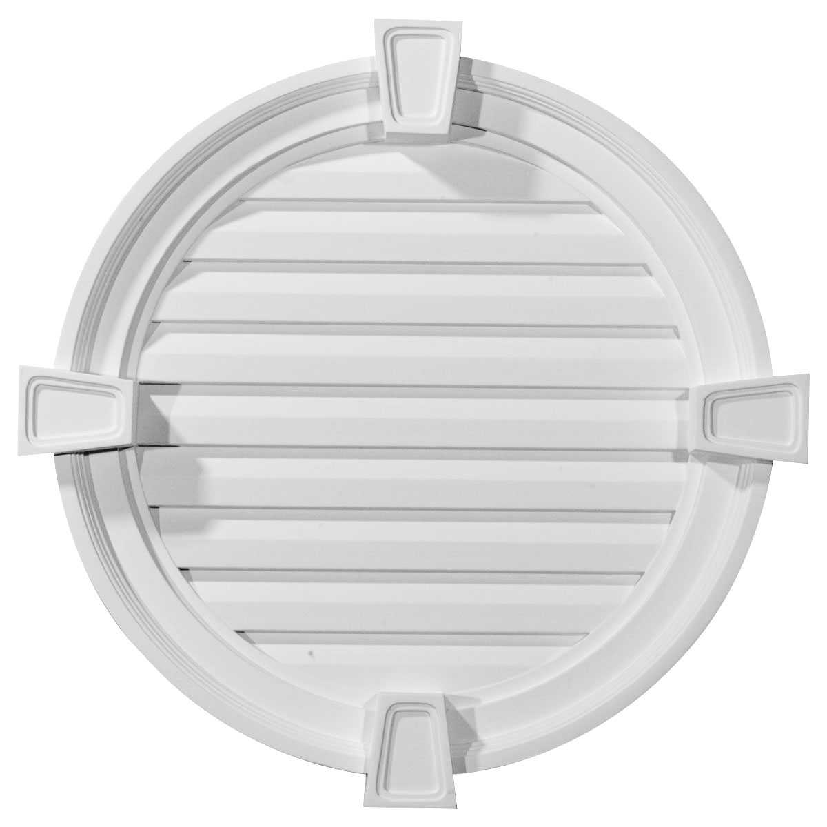 22'W x 22'H x 2 1/8'P, Round Gable Vent with Keystones, Functional