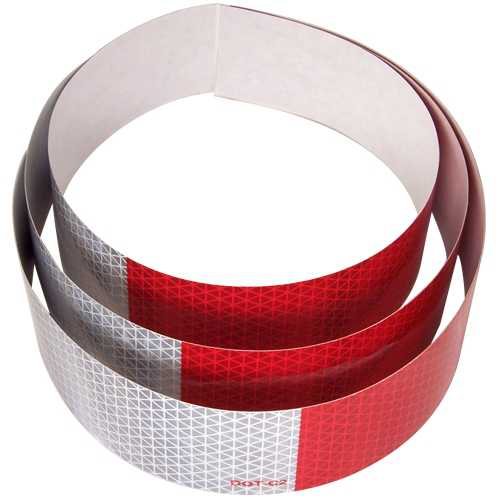 DOT-C2 2 inch x 18 inch (3)Strips 5 Year Reflexite Retroreflective Tape 11 inch Red 7 inch White