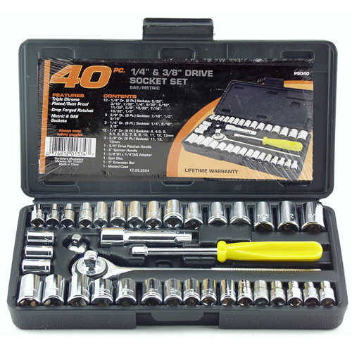 Great Neck Saw PS040 1/4' and 3/8' Drive Sockets Standard and Metric 40-Piece Set