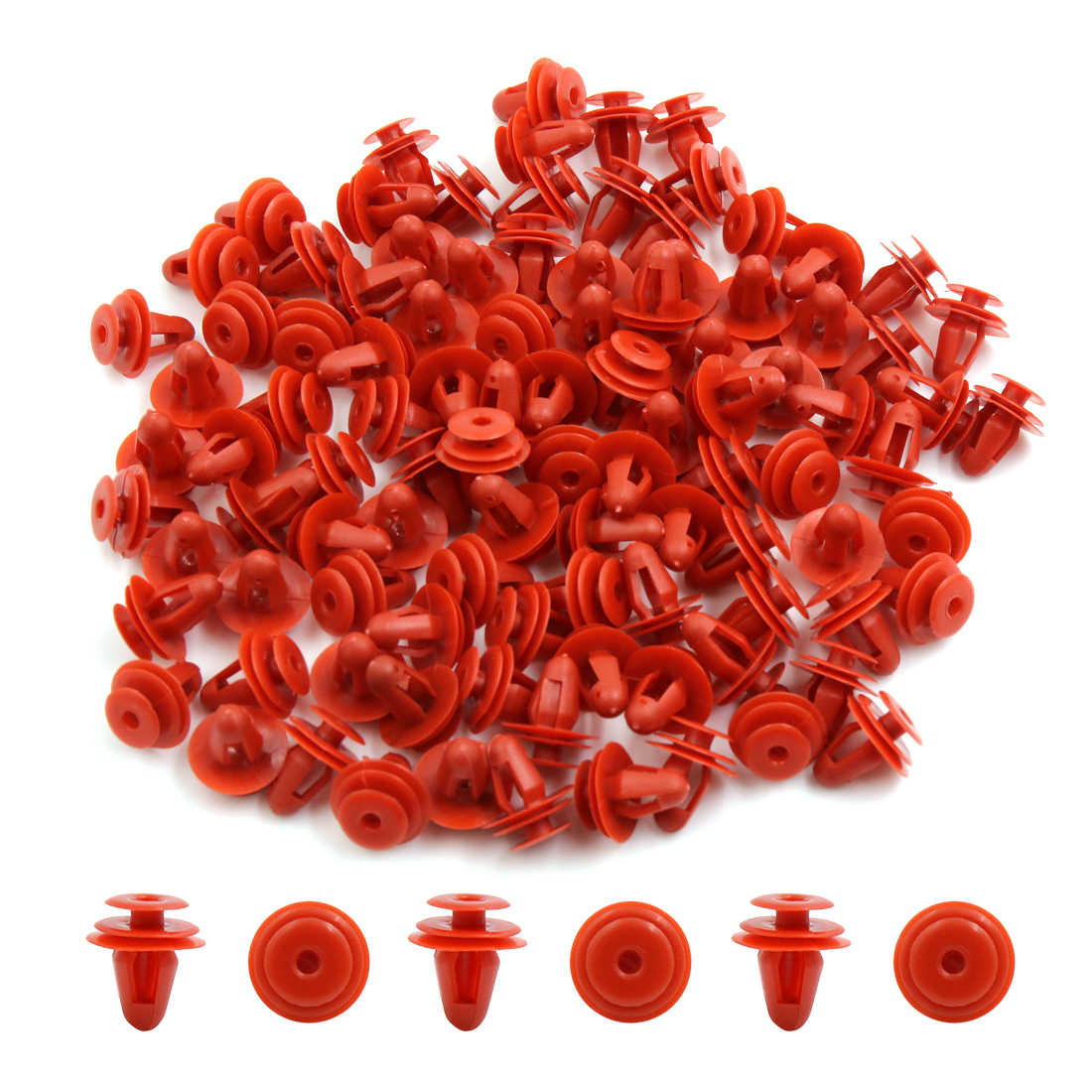 100Pcs Red Plastic Car Screw Rivet Fender Bumper Hood Retainer Clips 9mm Hole