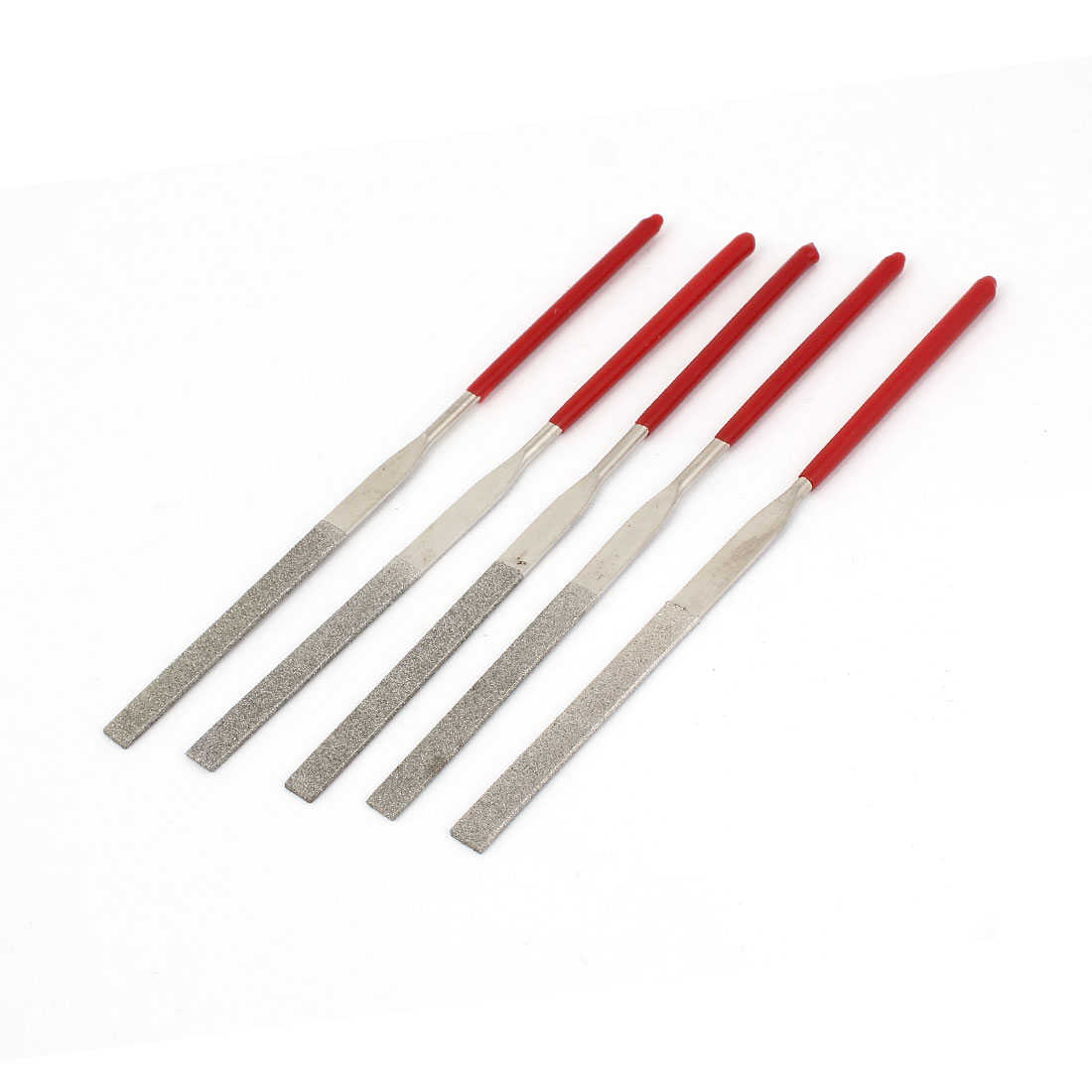 3mm x 140mm Rubber Handle Diamond Coated Flat Files Tool 5 Pcs