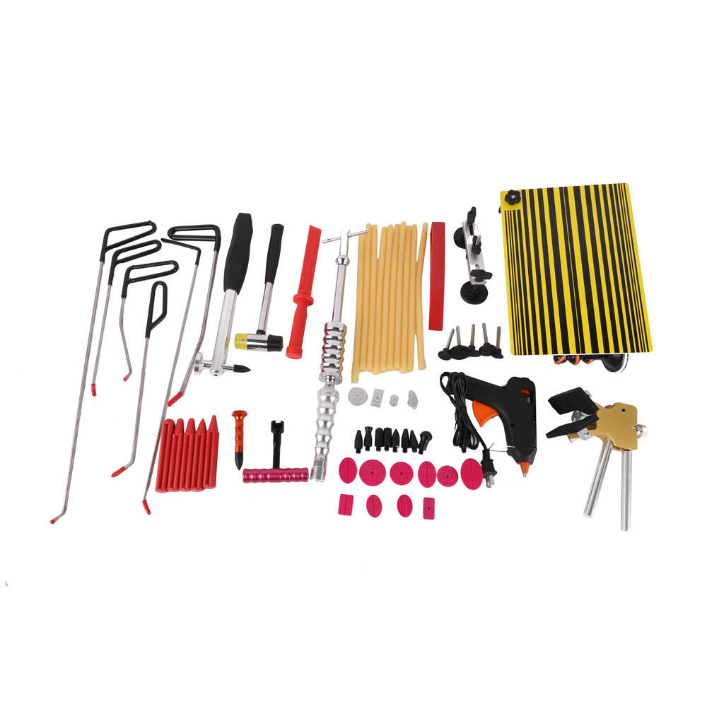Zimtown 62PCS Puller Rods Repair PDR Tools Paintless Dent Slide Hammer Removal Lift Kit