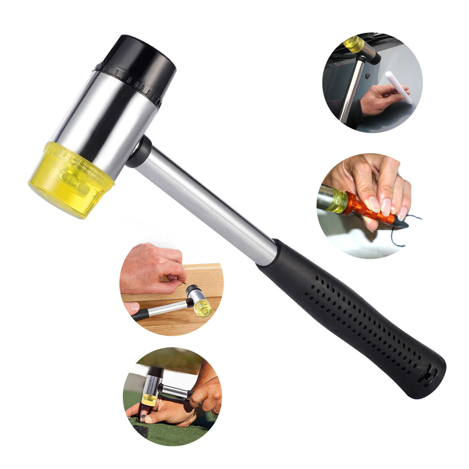 PDR Rubber Hammer Hail Mallet Tap Knock Down Tool Car Body Paintless Dent Removal