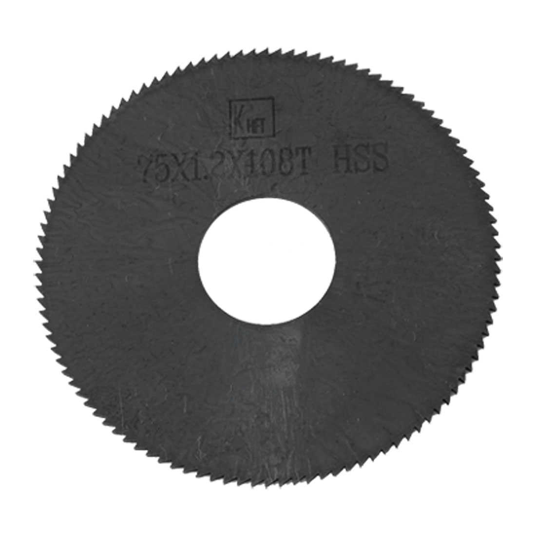 Unique Bargains 75mm x 1.2mm 108 Peg Teeth Black HSS Cutting Slitting Saw