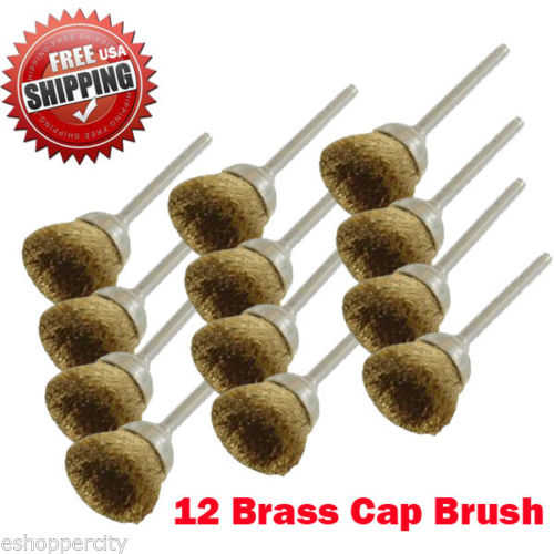 MTP  Pack of 12 Rotary Brass Cup Brush Dremel 443 442 428 8220-2/28 395 4000 1/8' Shank Clean Polish Tool Jewelry Stone Hobby