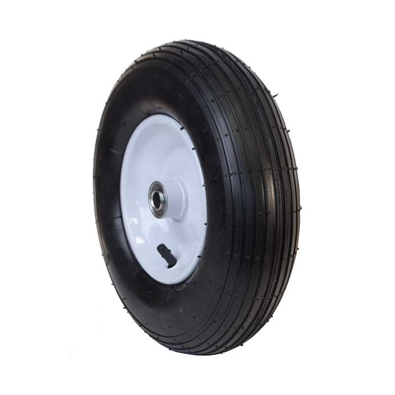 ALEKO Ribbed Pneumatic Replacement Wheel for Wheelbarrow - 13 Inch - Black Tire with White Rim - Set of 2