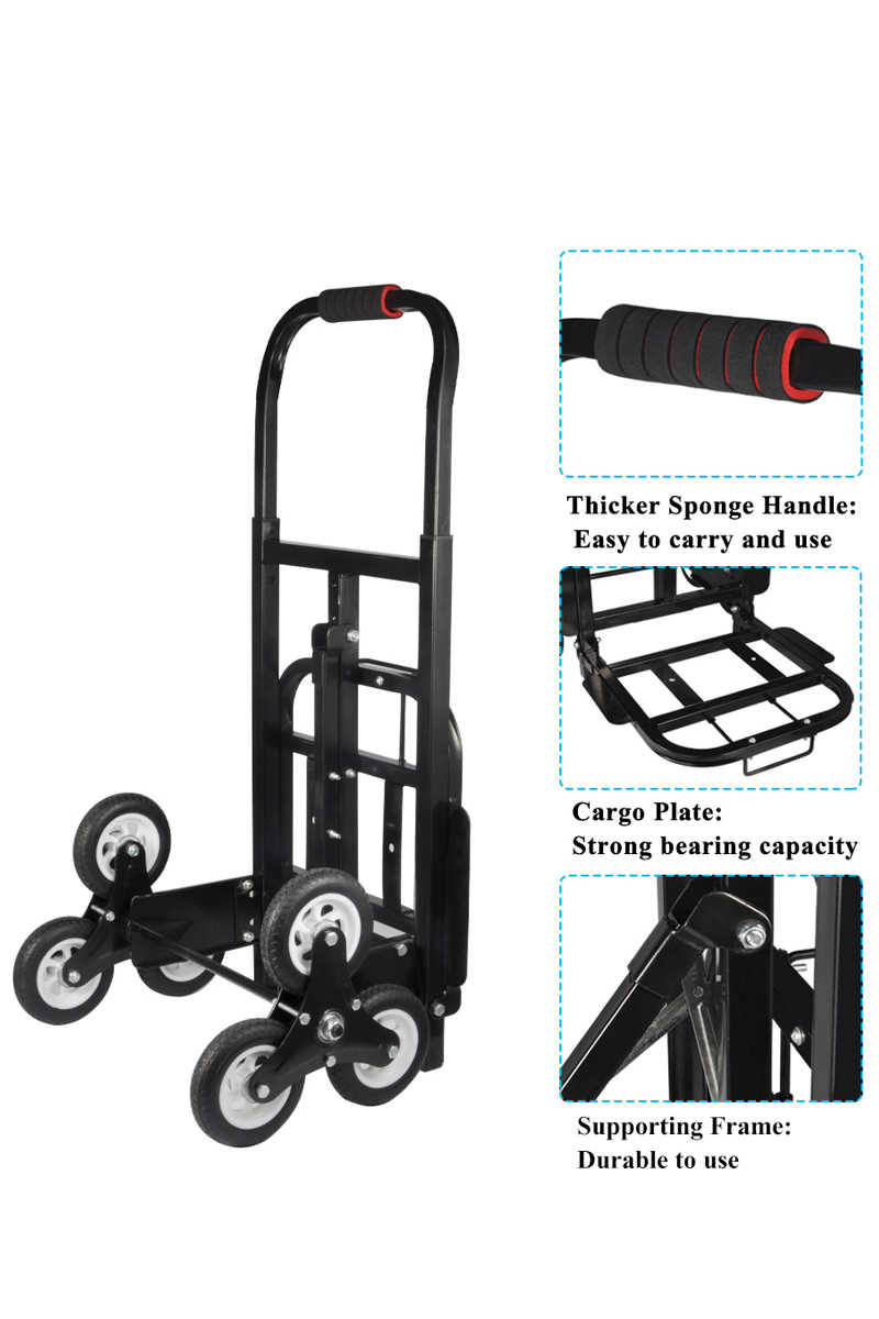 Stair Climber Hand Truck, SOLID RUBBER TIRES-440LBS Barrow Hand Truck Bracket Roll Cart Trolley