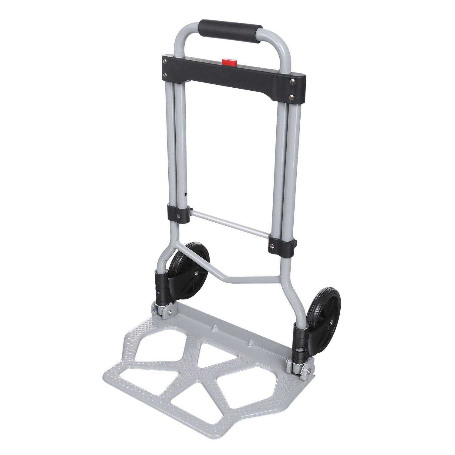 Elecmall Folding Hand Truck Dolly Luggage Carts, Silver, 220 lbs Capacity, Industrial/Travel/Shopping Elec