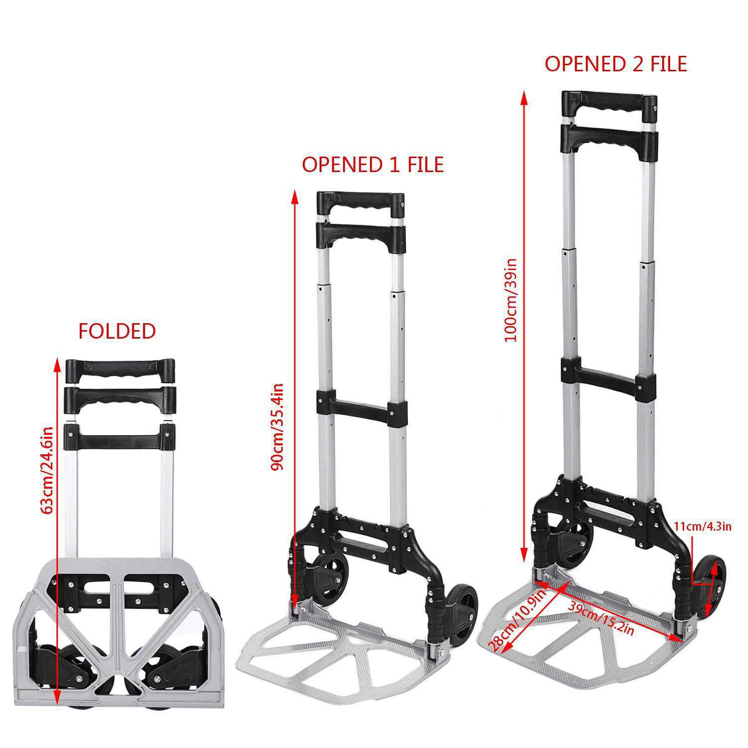 Telescoping Portable Folding 150 lbs Hand Truck Dolly Luggage Carts Aluminum Alloy USHHE