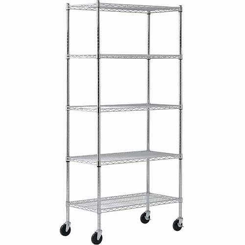Muscle Rack 36'W x 72'H x 18'D Chrome 4-Wheeled Wire Commercial Shelving Unit
