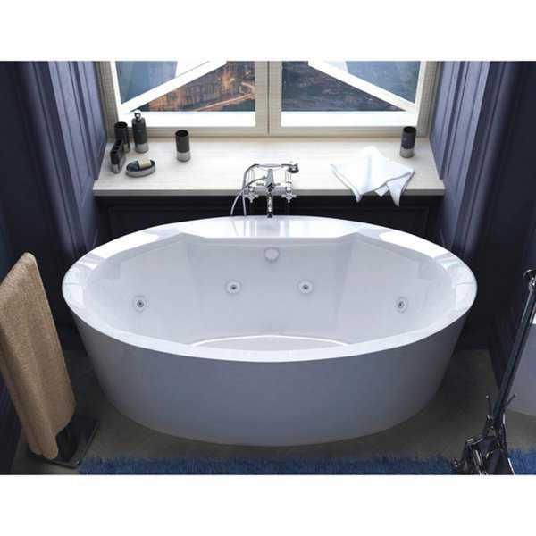 Atlantis Whirlpools Suisse 34 x 68 Oval Freestanding Whirlpool Jetted Bathtub in White