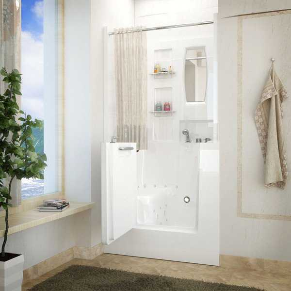 MediTub 31x40 Right Drain White Air & Whirlpool Jetted Walk-in Bathtub