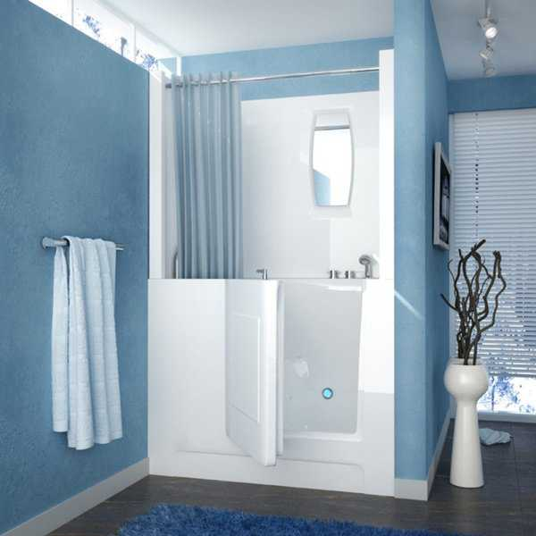 MediTub 27x47-inch Right Drain White Air Jetted Walk-In Bathtub