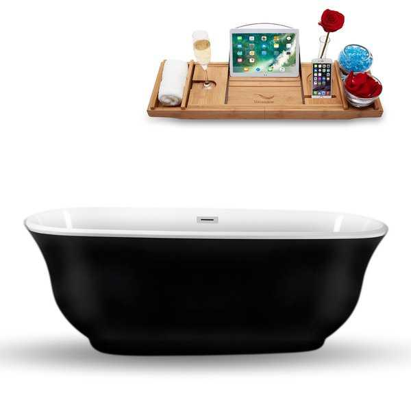 Streamline 70-inch Freestanding Internal Drain Tub and Tray