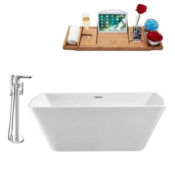 Tub, Faucet and Tray Set Streamline 59' Freestanding NH680-120