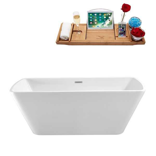 59' Streamline N-680-59FSWH-FM Soaking Freestanding Tub and Tray With Internal Drain
