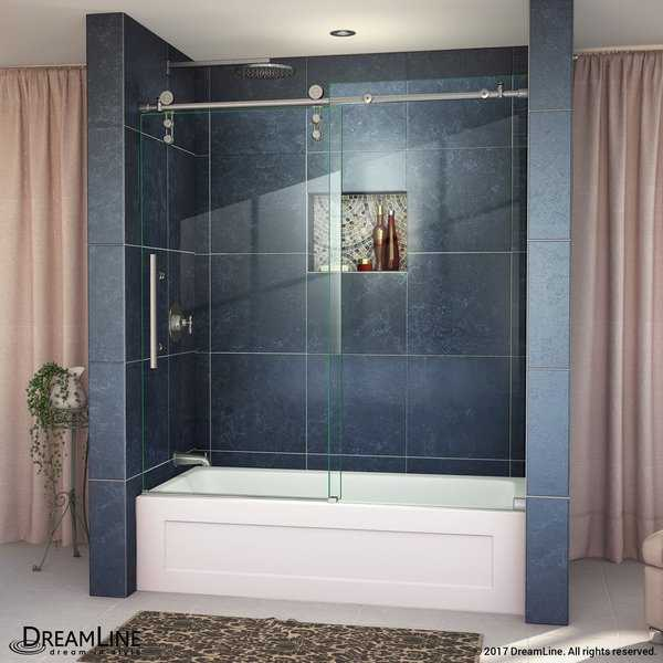 DreamLine Enigma-Z 55-59 in. W x 62 in. H Fully Frameless Sliding Tub Door