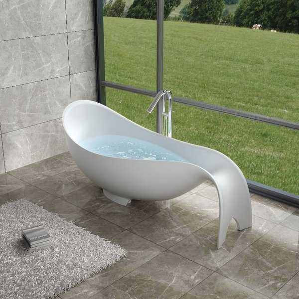 80'Polystone Mermaid Free Standing Bathtub in Glossy or Matte White Finish-No Faucet