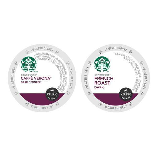 Starbucks Italian Roast Caffe Verona and Adventurous Light-bodied French Roast Coffee K-Cup Packs 48 Count