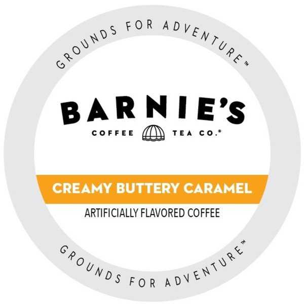 Barnie's Coffee Kitchen Creamy Buttery Caramel Ground, Flavored Medium Roast Single Serve Coffee for Keurig Brewers 24 Count